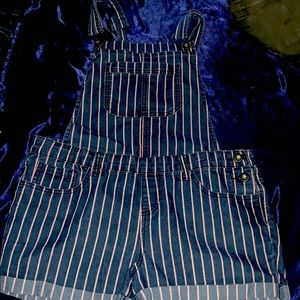 stripped overalls shorts